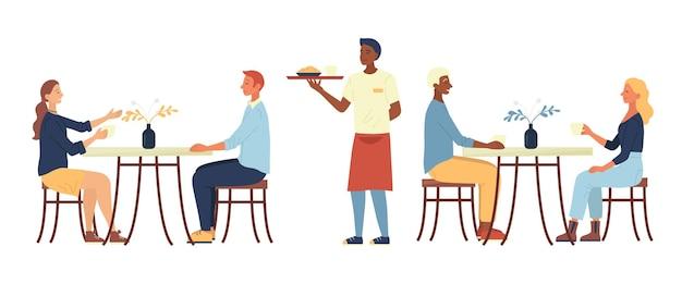Концепция обеда. люди сидят в уютном городском кафе, пьют кофе, ужинают. официант приносит заказ. персонажи общаются и хорошо проводят время. мультфильм плоский векторные иллюстрации. Premium векторы