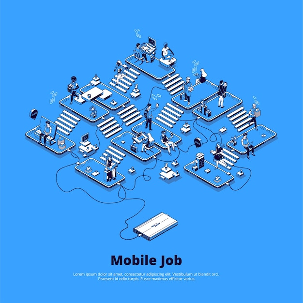 電話を使用したオンラインビジネスの概念、デジタル分野でのキャリア、モバイルマーケティング、ネットワーク。 無料ベクター