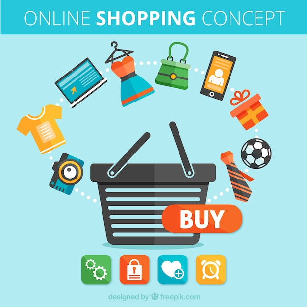 Concept of online shopping vector free download for Online art stores us