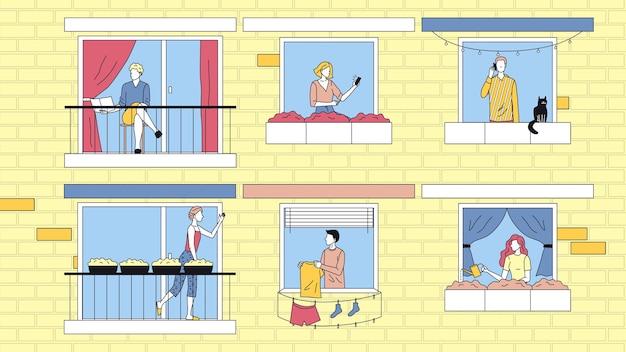 집에서 사람들이 레저의 개념입니다. 캐릭터는 아파트에서 집에서 시간을 보내고 있습니다. 이웃들은 서로 소통하고 사업을합니다. 만화 선형 개요 플랫 스타일. 벡터 일러스트 레이 션. 프리미엄 벡터