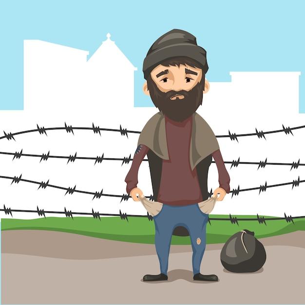 難民の概念。 Premiumベクター