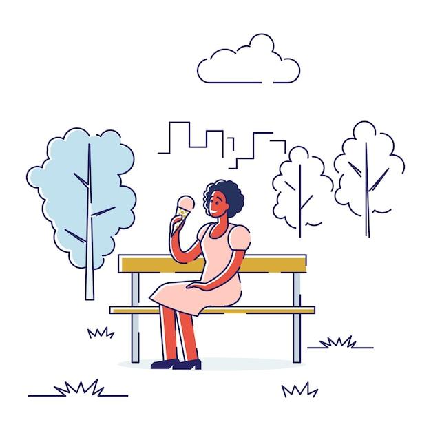 屋外で自由時間を過ごすという概念。幸せな女の子は健康的なライフスタイルをリードします。 Premiumベクター