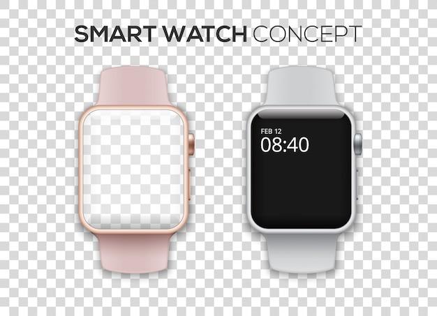 Концепция двухцветных умных часов Premium векторы