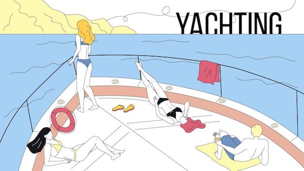 ヨット、海の旅、友情の休暇の概念。 Premiumベクター