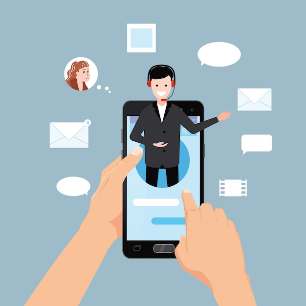 Concept online assistant, hands hold smartphone, customer and operator, call centre, online global technical support 24-7 Premium Vector