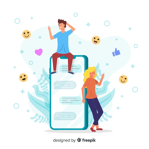 Concept of online dating application Free Vector
