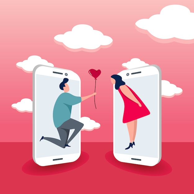 Concept of online dating for smart phone Premium Vector