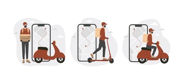 Concept of online delivery app Premium Vector