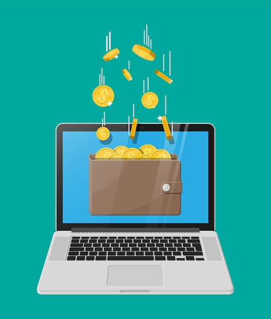 Concept of online income. earnings in internet network. electronic wallet. Premium Vector