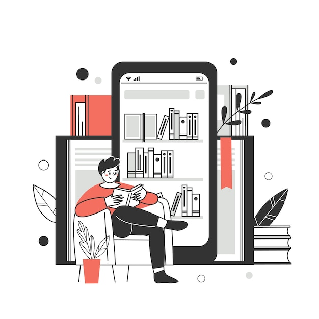The concept of online library, bookstores. applications for reading and downloading books, audiobook