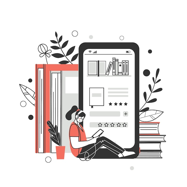 The concept of online library, bookstores. applications for reading and downloading books, audiobooks. vector illustration. Premium Vector