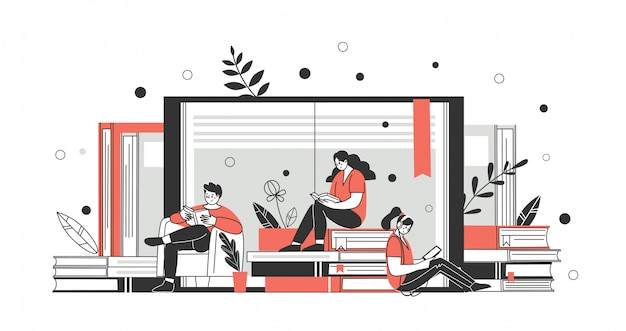 The concept of online library, bookstores, read more. applications for reading and downloading books. vector Premium Vector