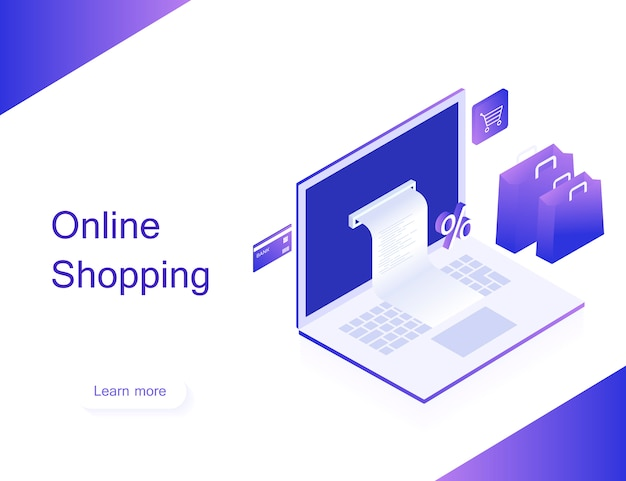 Concept of online shop. transfer money from card. isometric image of laptop, bank card and shopping bag on white background. 3d flat design. modern vector illustration Premium Vector
