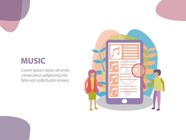 Concept of online streaming music background design Premium Vector