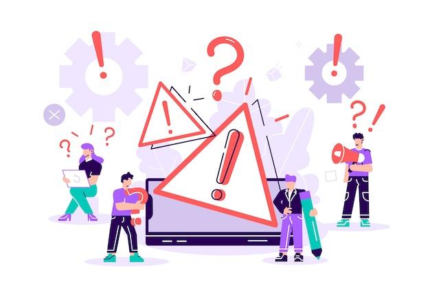 Концепция операционной системы предупреждение об ошибке. 404 ошибка веб-страницы иллюстрации, окно предупреждения об ошибке операционной системы. для веб-страницы, баннер, презентация, социальные медиа, документы, плакаты. Premium векторы