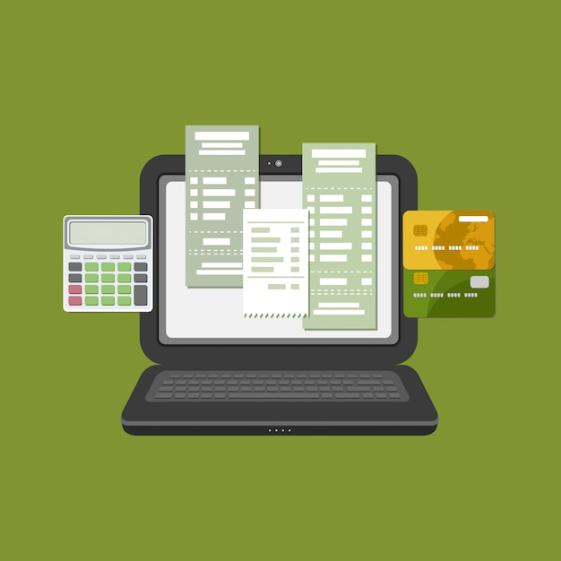 Concept of pay bill tax check online account via computer or laptop. online payment. laptop with check invoice on the screen. bank card transfer. credit bank cards with calculator. vector Premium Vector