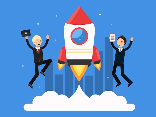 Concept picture with symbols of startup. rocket and happy businessmen Premium Vector
