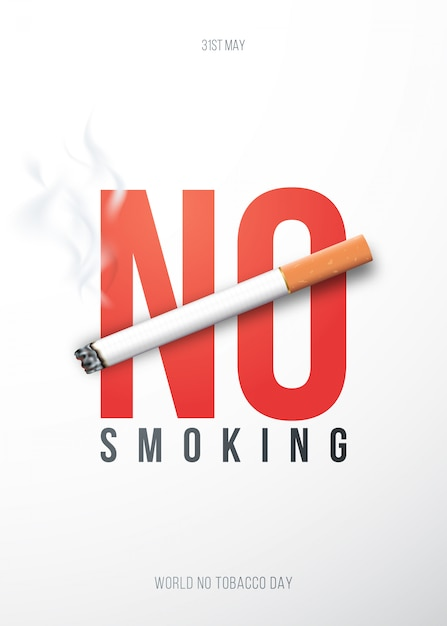 Concept placard with 3d realistic cigarette and text no smoking. Premium Vector