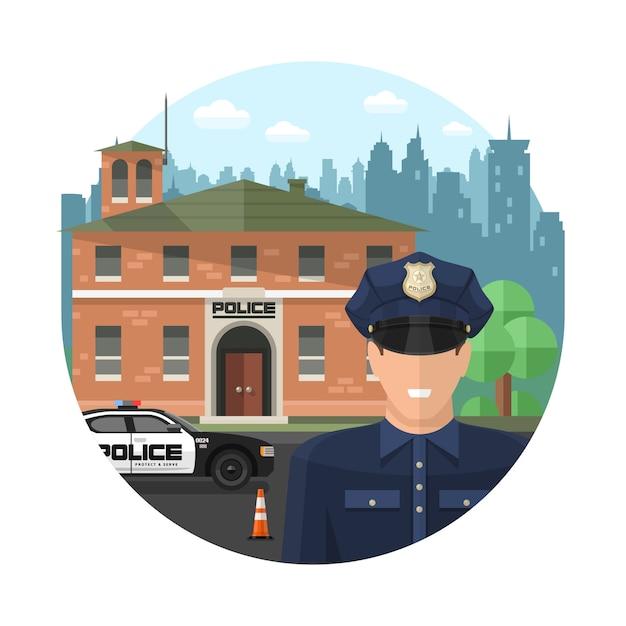 コンセプト警察の構成 無料ベクター