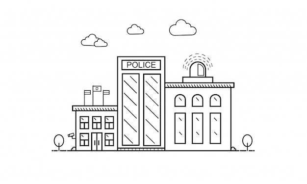 Concept of police department building in flat line Premium Vector