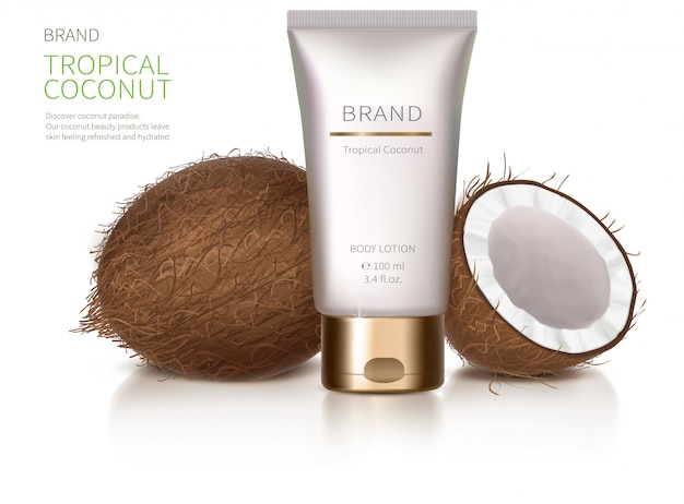 Concept poster for organic natural cream Free Vector