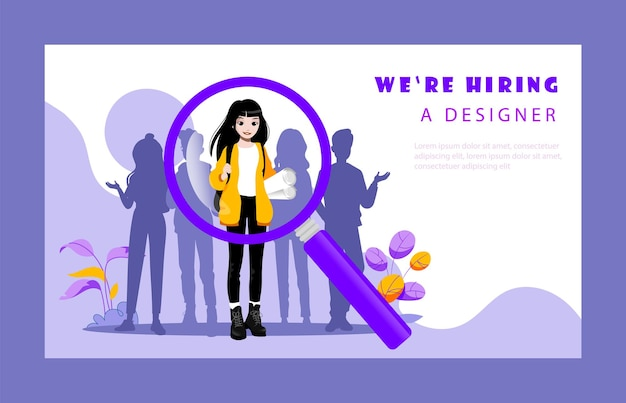 Concept of recruitment agency and human resources. website landing page. hr manager is choosing best candidates for designer position for the company. web page cartoon flat style vector illustration. Premium Vector