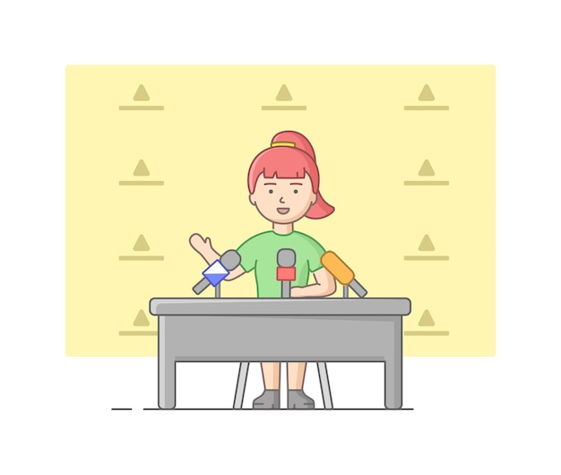 Concept of reportage and interview. young woman giving an interview in studio. news presenter speaking in mic before camera. questioner gives interview. linear outline flat style. vector illustration. Premium Vector