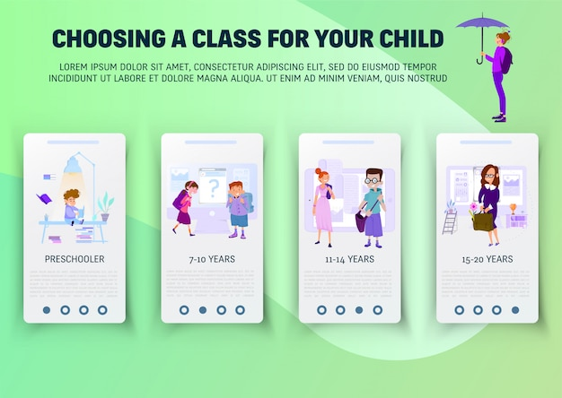 Concept of schoolwork for website  onboard screen set Premium Vector