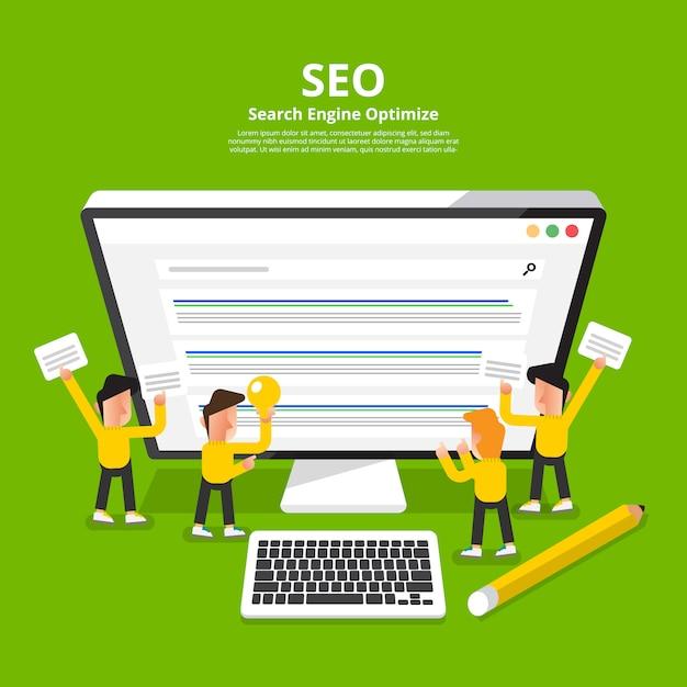 Concept seo (search engine optimize).  illustrate. Premium Vector