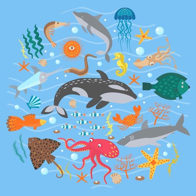 Concept set of cute sea animals fish Premium Vector
