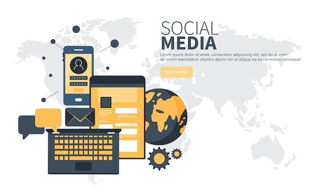 Concept of social network for website and mobile website Premium Vector