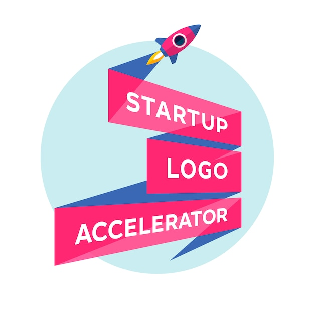 Concept  for start up project with inscription startup logo accelerator Premium Vector