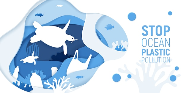 Concept of stop ocean plastic pollution. paper cut underwater background with plastic rubbish, turtles and coral reefs. Premium Vector