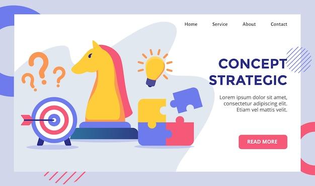 現代のウェブサイトホームページランディングページテンプレートバナーのコンセプト戦略チェス馬キャンペーン Premiumベクター