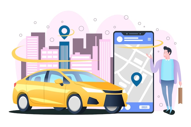 Concept for taxi app Free Vector
