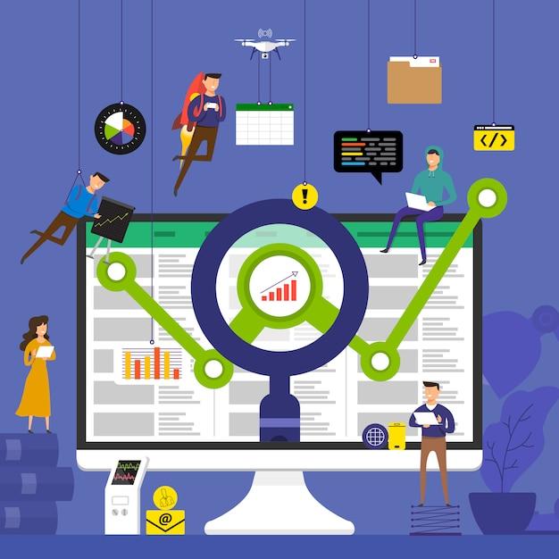 Концептуальная группа, работающая над данными анализа технологий на рабочем столе. проиллюстрировать. Premium векторы