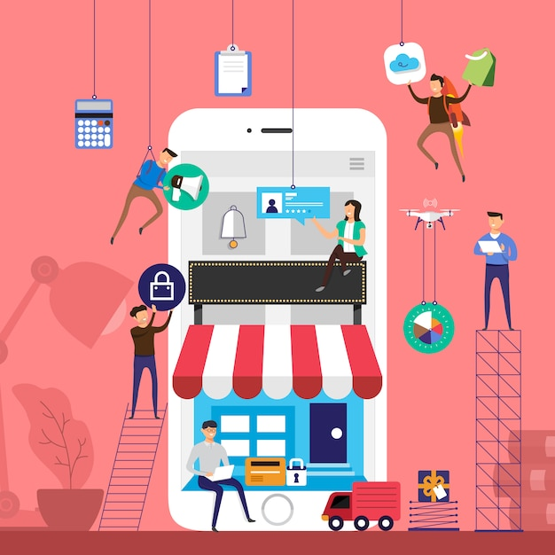 Concept team working for online store e-commerce technology on mobile.  illustrate. Premium Vector
