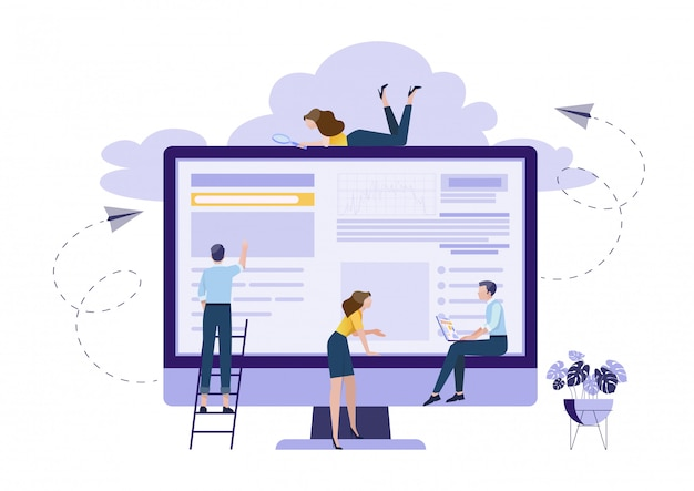 Concept of teamwork planning Premium Vector
