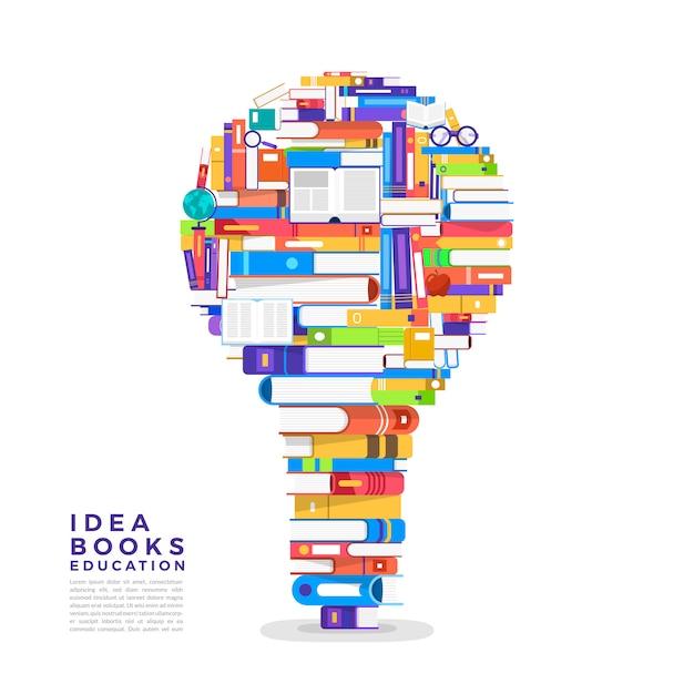 개념 책은 전구입니다. 책을 아이콘 아이디어로 설정하십시오. 설명합니다. 프리미엄 벡터