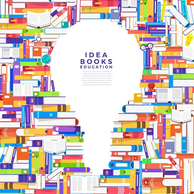 Концепция книга представляет собой лампочку. настройте книгу на идею icon. проиллюстрировать. Premium векторы