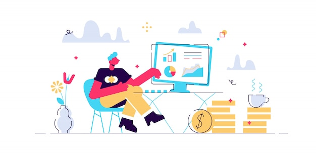 Концепция мысли и аналитика для веб-страницы, баннер, презентация, социальные медиа. поднять карьеру к успеху. иллюстрация, запуск, человек думает над идеей, аудит, онлайн-банкинг. Premium векторы