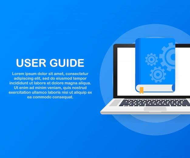 Webページ、バナー、ソーシャルメディアのコンセプトユーザーガイド本。 Premiumベクター