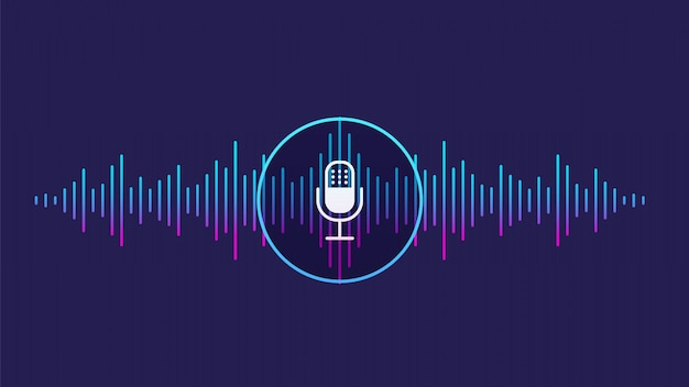 Concept of voice recognition. sound wave with imitation of voice, sound and microphone icon. Premium Vector