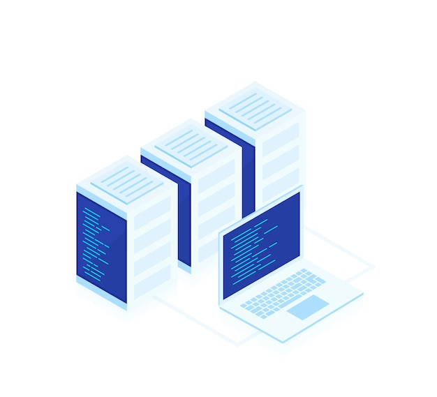 Concept of web hosting .vector isometric map with business networking servers and laptop.cloud storage data and synchronization of devices. modern ilustration Premium Vector