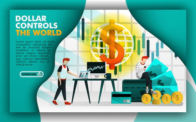Concept of web pages for dollar controls the world Premium Vector