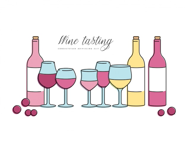 Premium Vector Concept Of Wine Tasting For Bar Or Restaurant Different Types Of Glasses And Bottles Of Wine