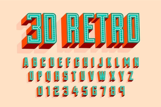 3 dレトロなアルファベットのコンセプト 無料ベクター