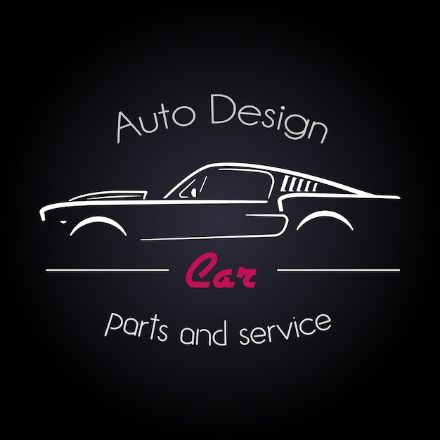Concept with classic american style sports car silhouette. Premium Vector