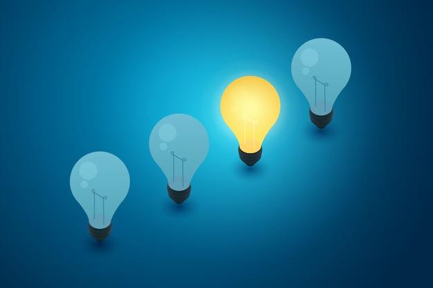 電球青色の背景とアイデア創造性思考の概念。図 Premiumベクター