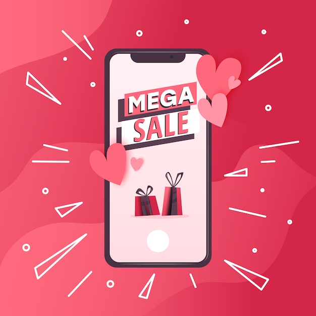 Concept with mobile phone with love  messages Premium Vector